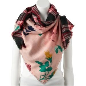Candie's Floral & Plaid Reversible Triangle Scarf